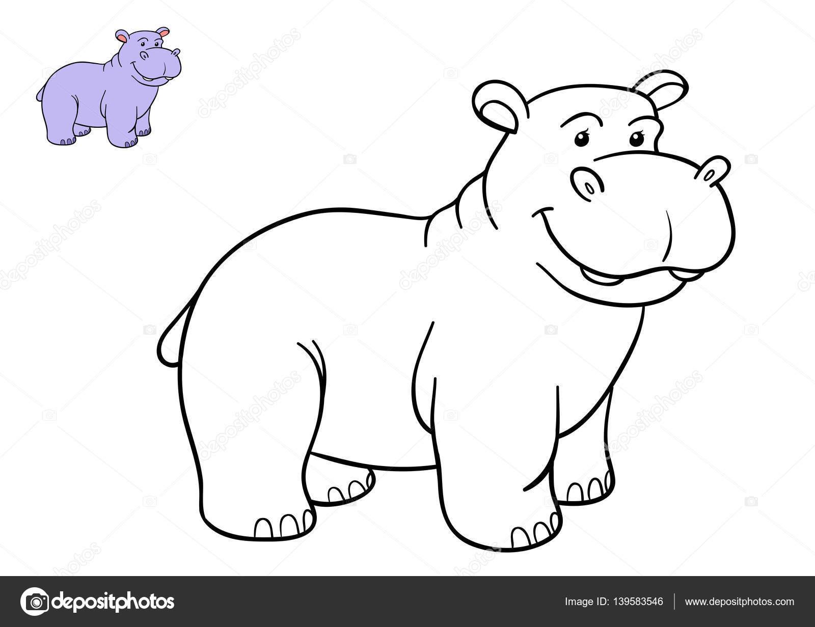 Coloring Book Hippo Stock Photo C Ksenya Savva 139583546