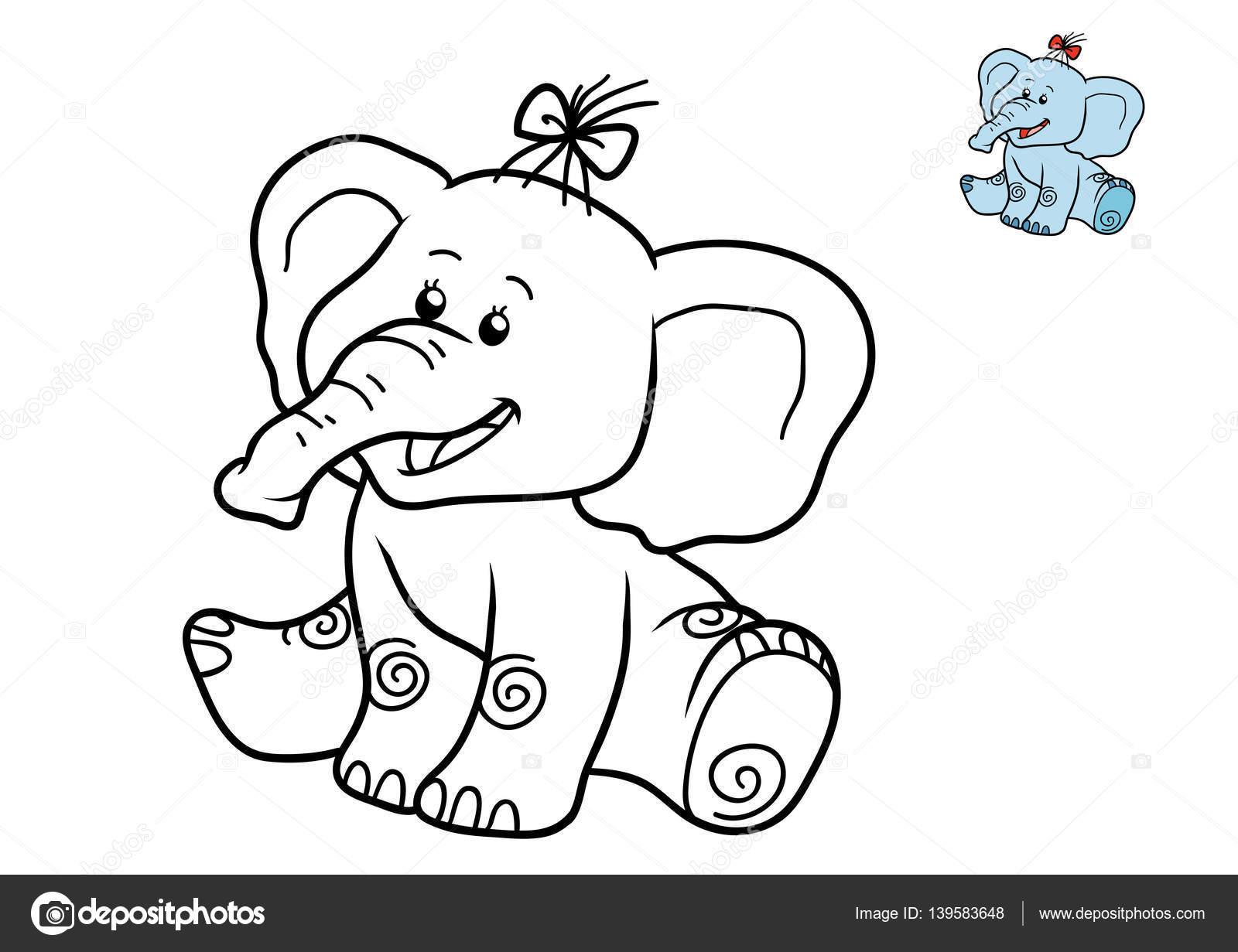 Libro para colorear, elefante — Foto de stock © ksenya_savva #139583648