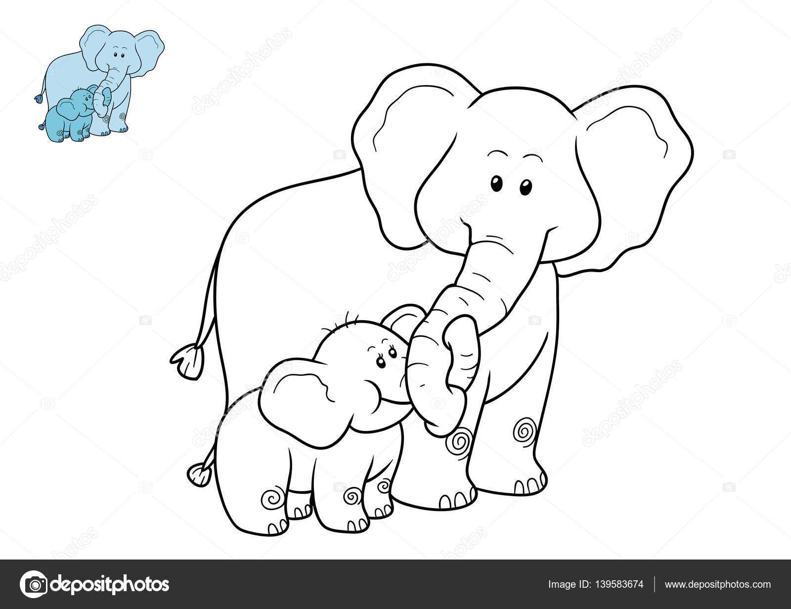 Imágenes Familia Elefantes Para Colorear Libro Para Colorear