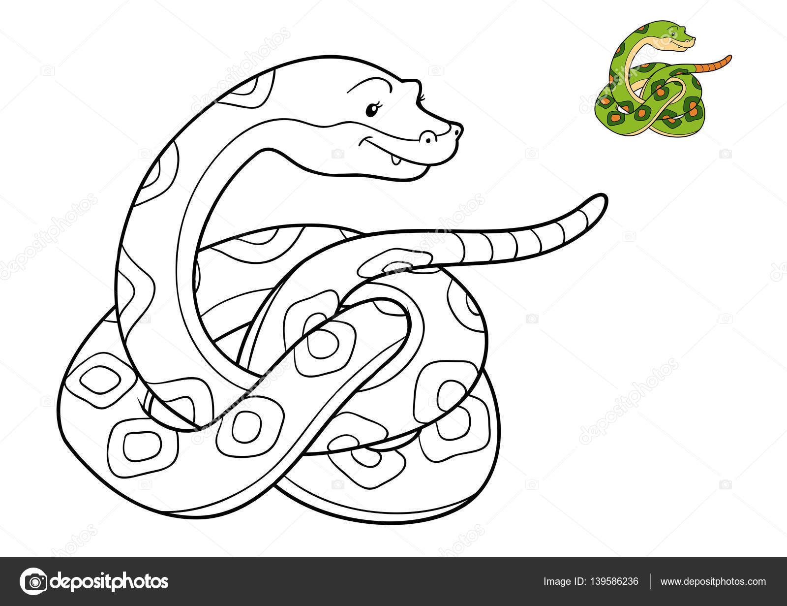 Libro de colorear, serpiente — Fotos de Stock © ksenya_savva #139586236