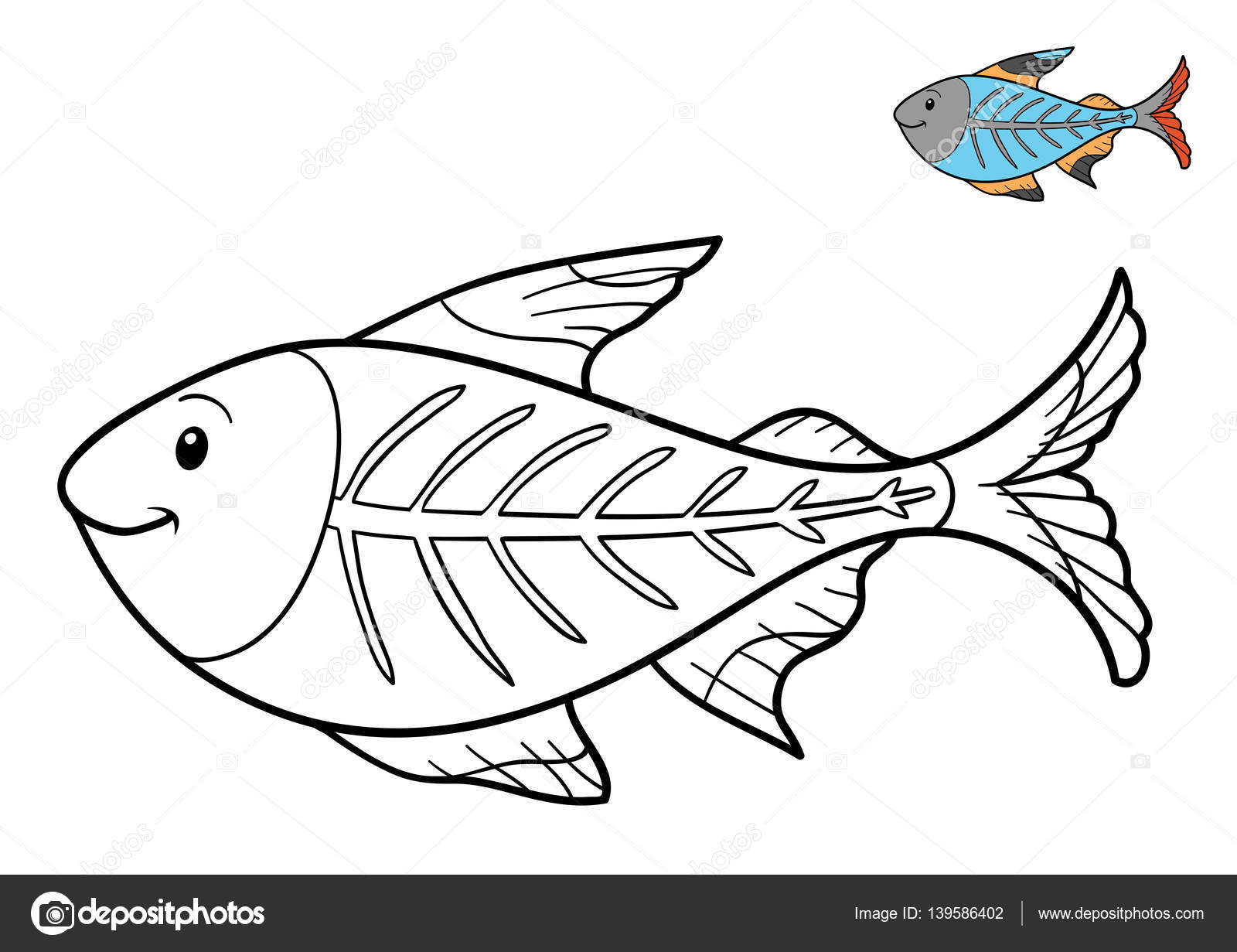 Libro para colorear, peces de rayos x — Fotos de Stock ...