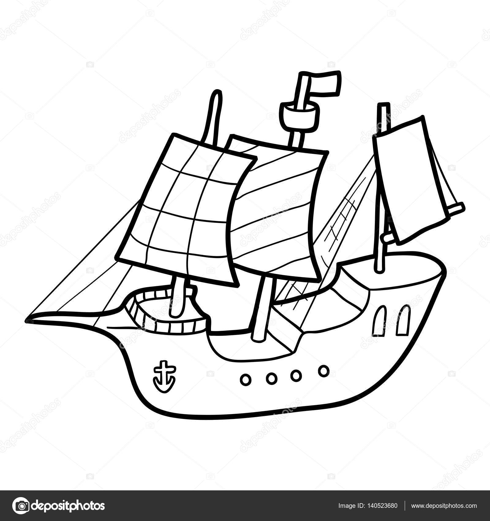 Coloring Book Sailing Ship Stock Vector C Ksenya Savva 140523680