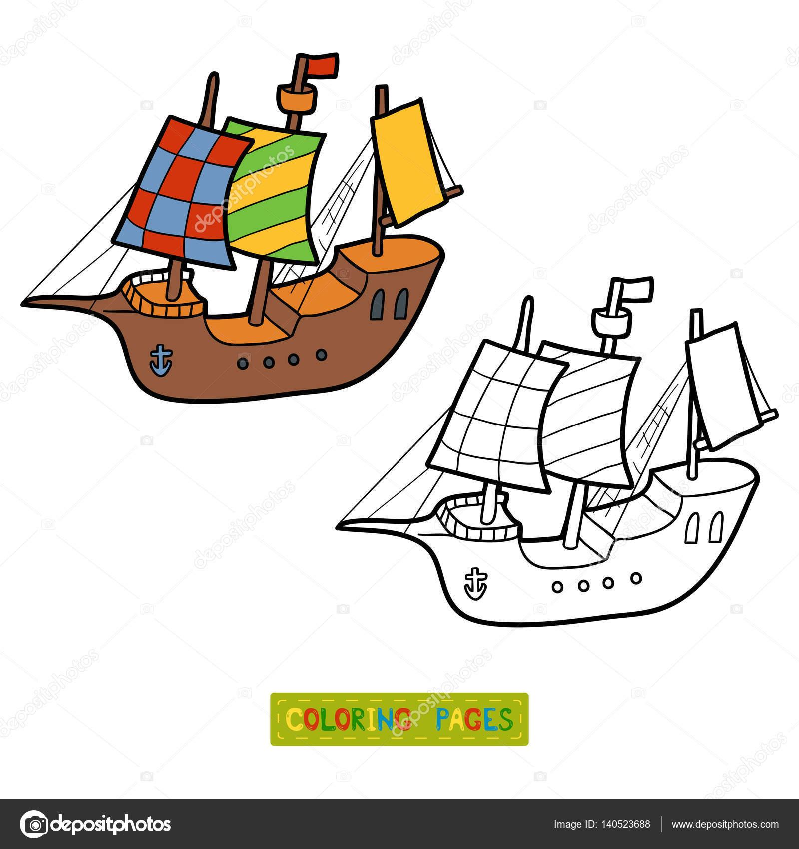 Boyama Kitabı Yelkenli Gemi Stok Vektör Ksenyasavva 140523688