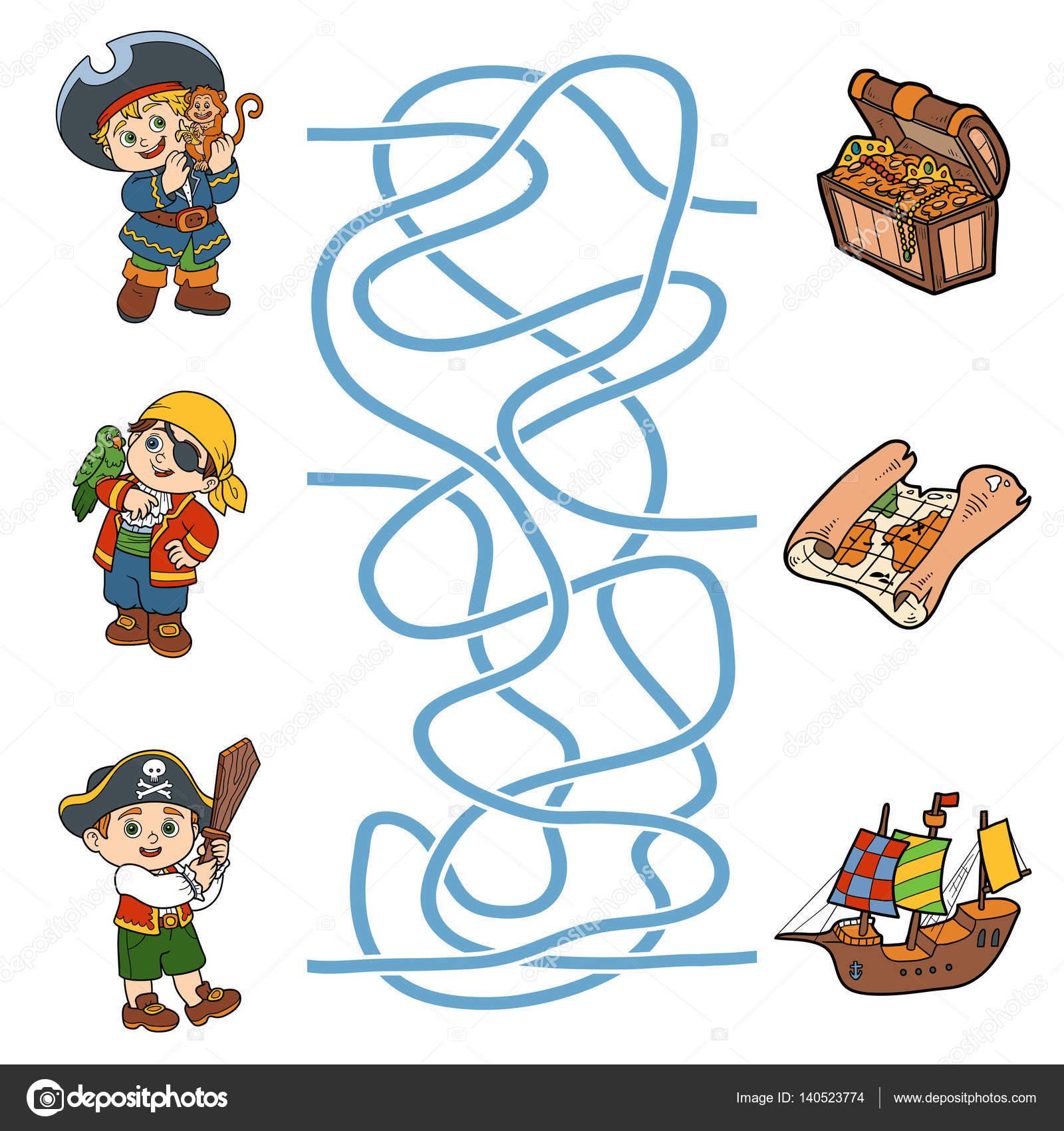 doolhof spel voor kinderen piraat tekens en items