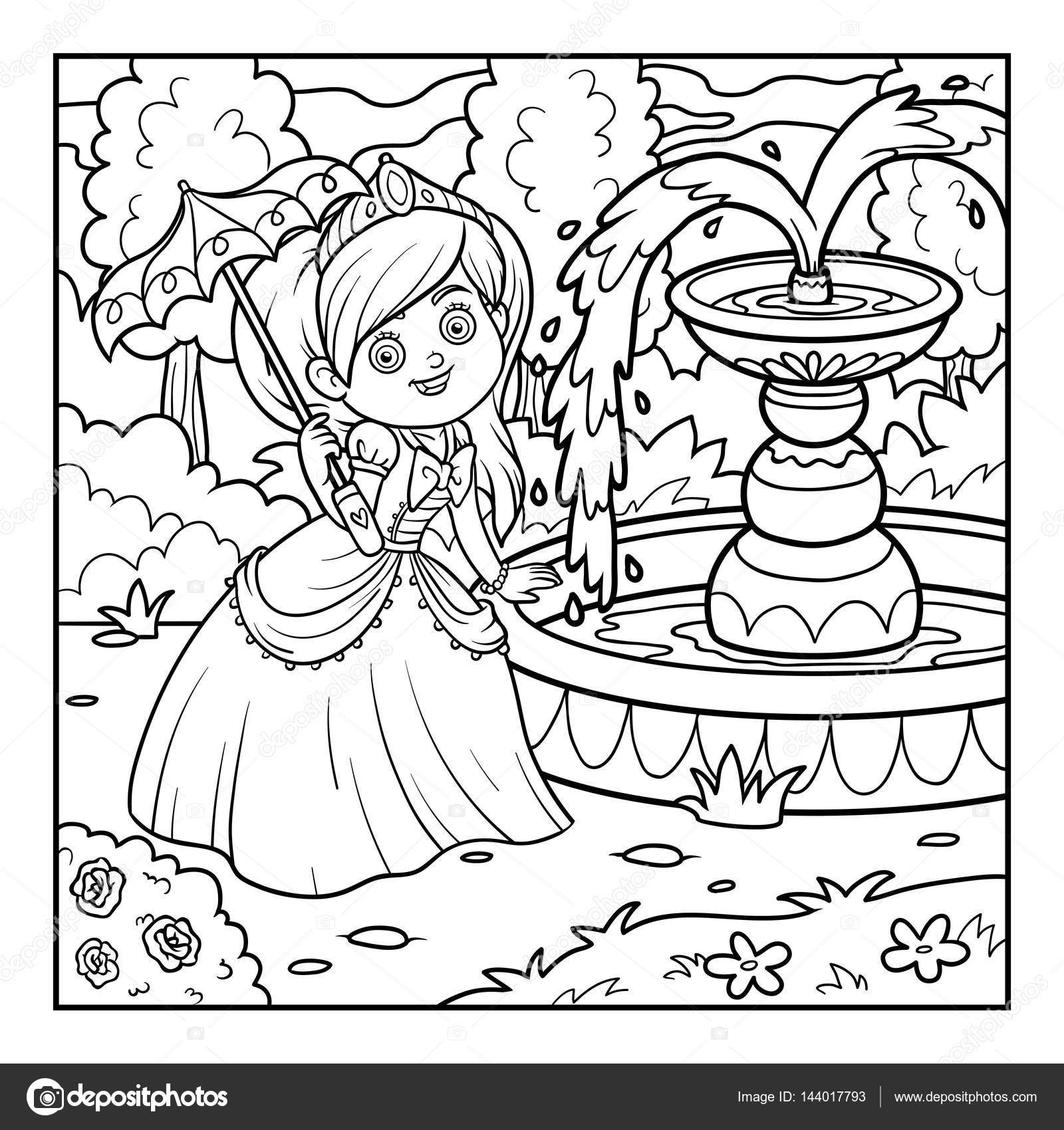 Coloring book princess - Coloring Book Princess With Umbrella Stock Illustration