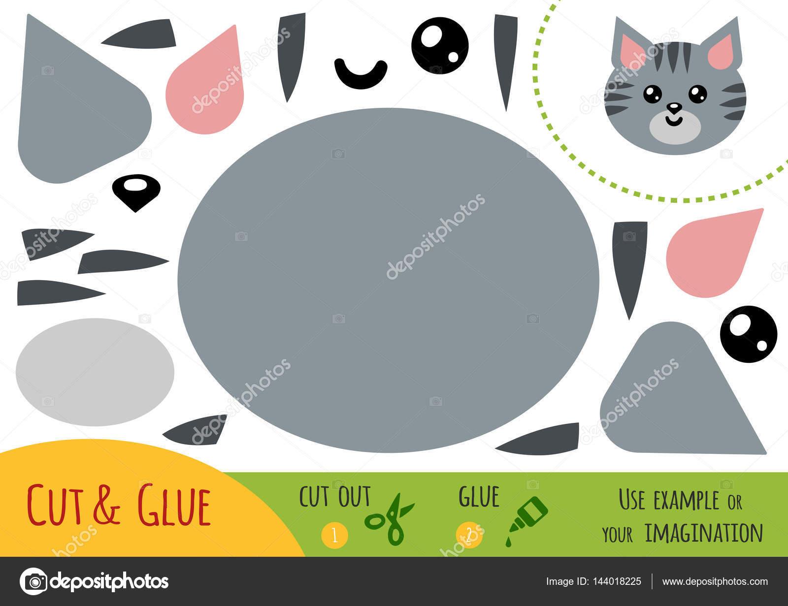 Gato Para Imprimir Y Recortar Papel De La Educacion Para Ninos