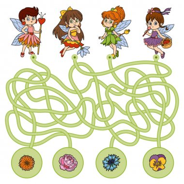 Maze game for children. Little fairies and flowers