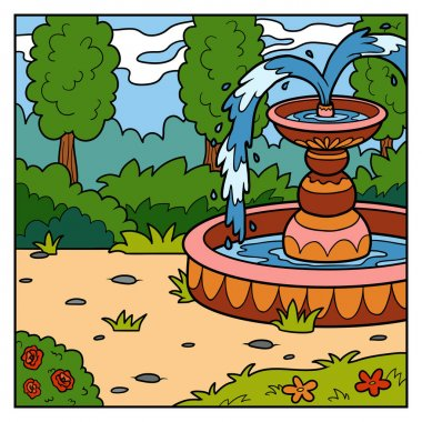 Vector illustration, background. Princess garden with a fountain