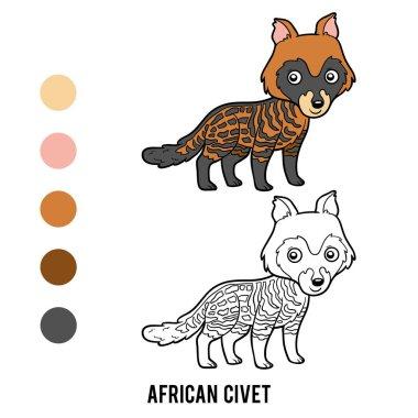 Coloring book, African civet