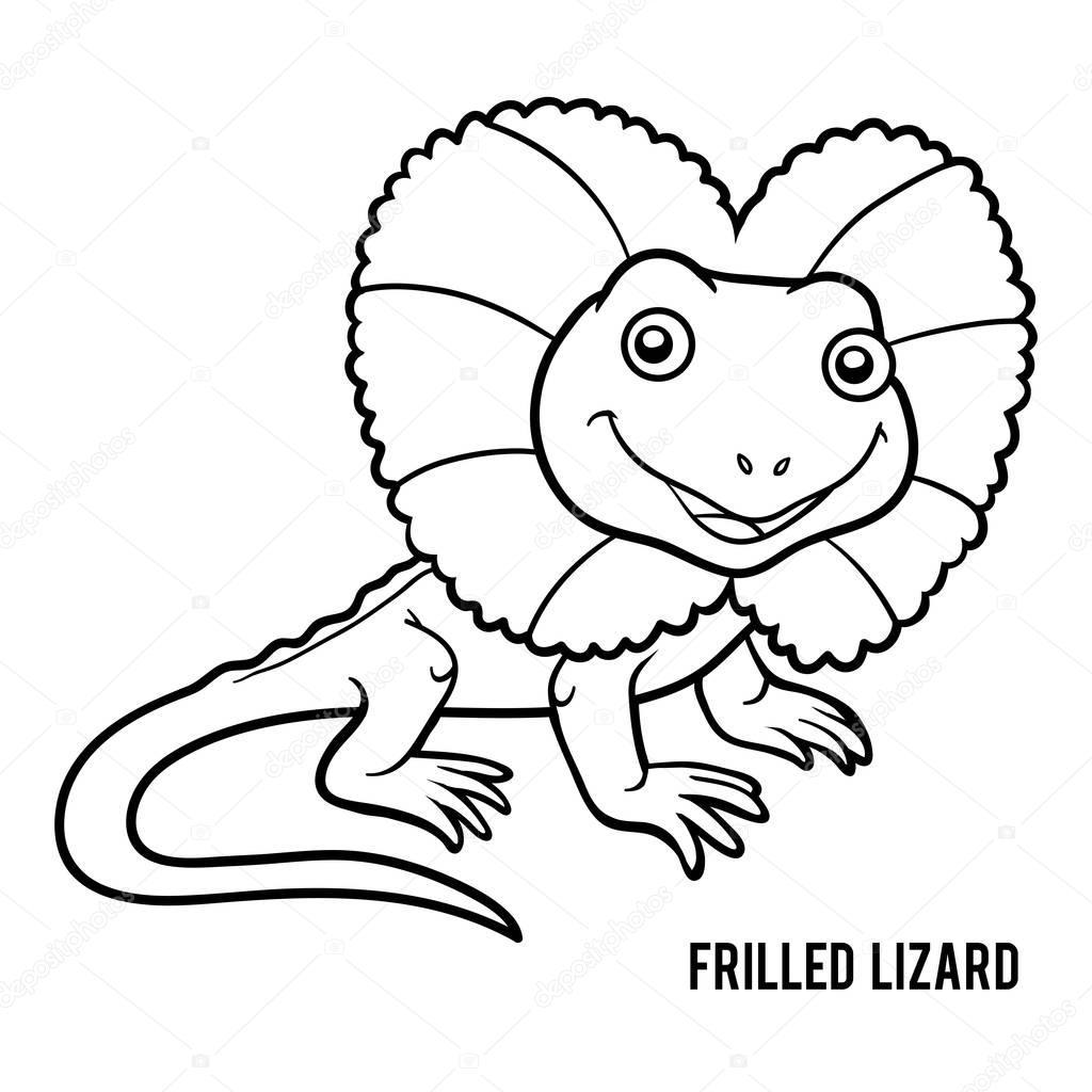 Libro de colorear, lagarto con volantes — Archivo Imágenes ...
