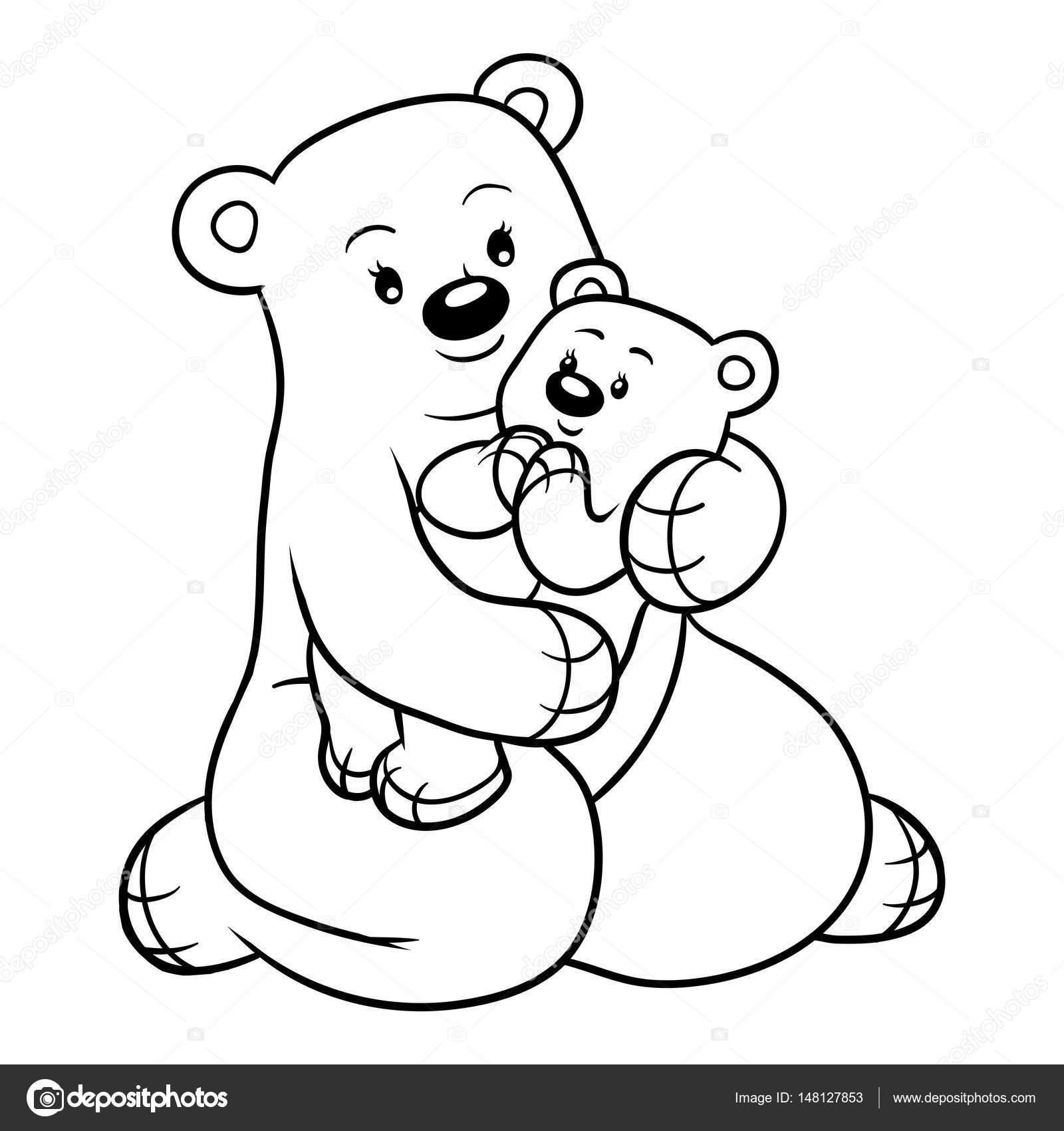 Libro para colorear para niños, familia de osos — Archivo Imágenes ...
