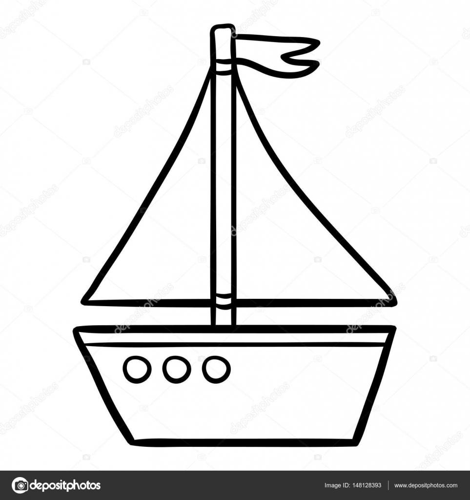 Libro para colorear para niños, alquiler de barcos — Vector de stock ...