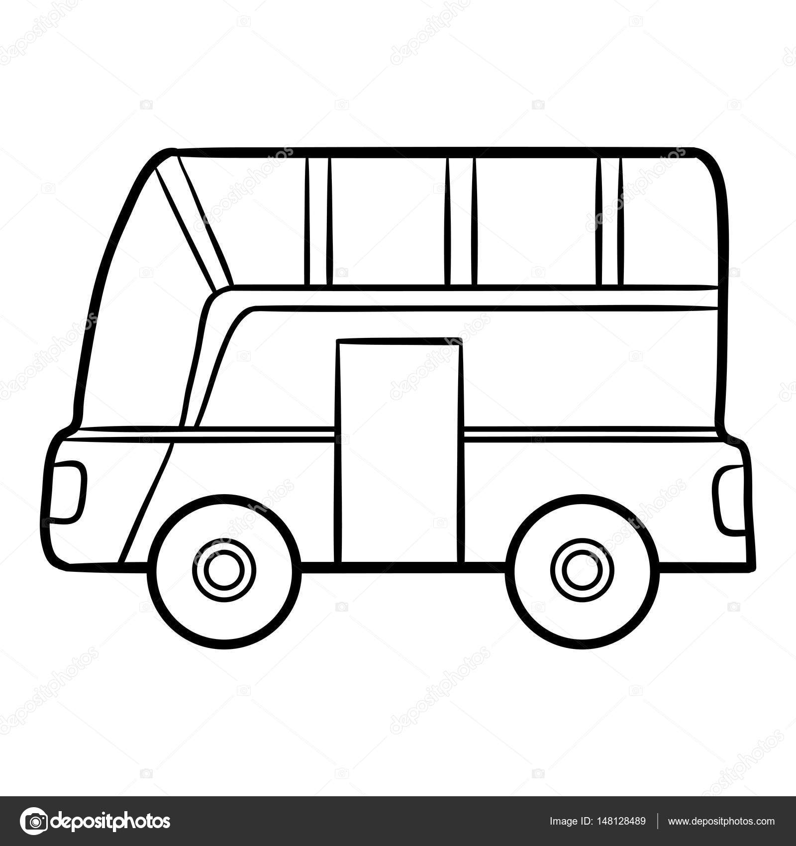 Otobüs çocuklar Için Boyama Kitabı Stok Vektör Ksenyasavva