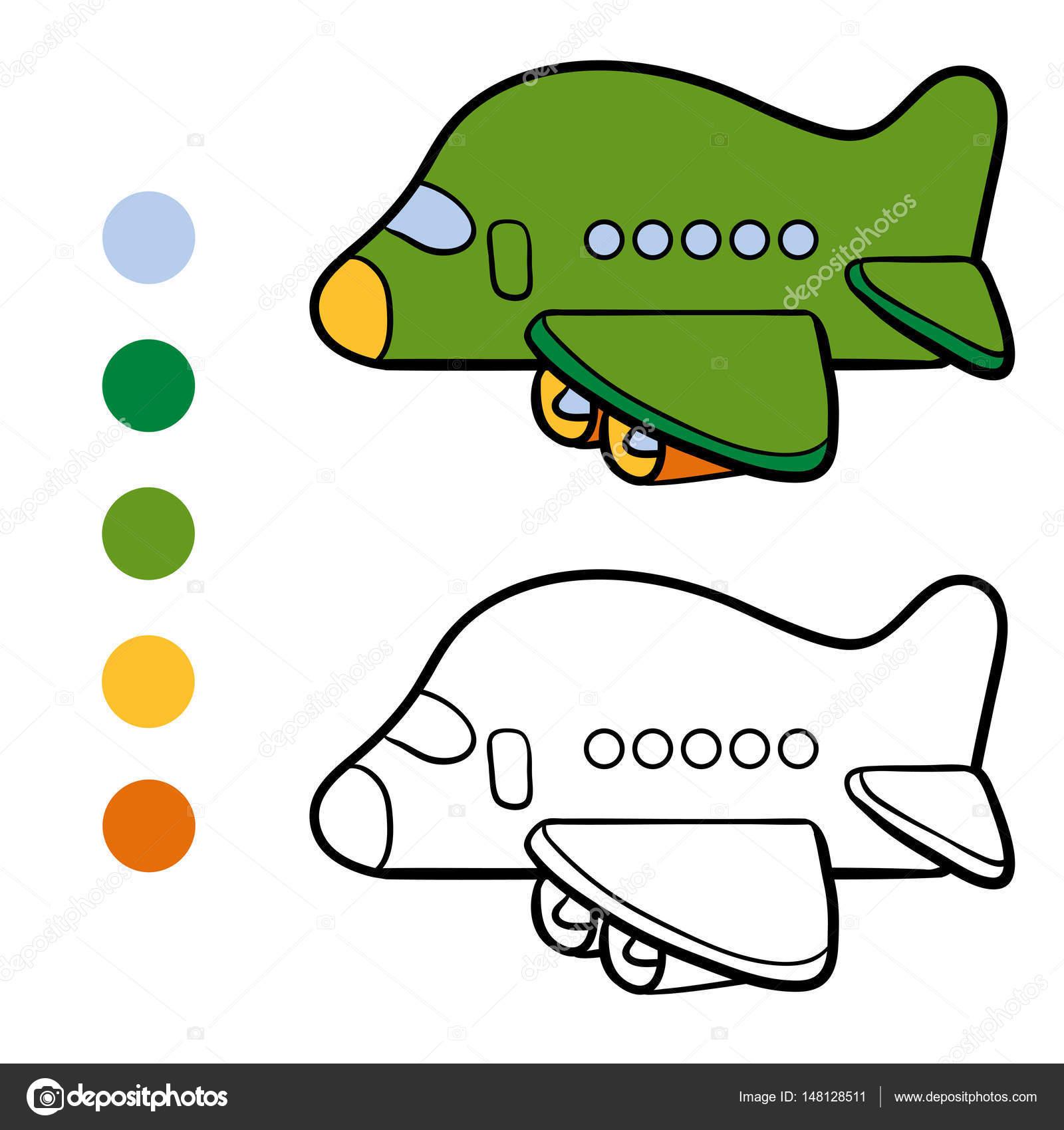 Libro para colorear para niños, avión — Archivo Imágenes Vectoriales ...