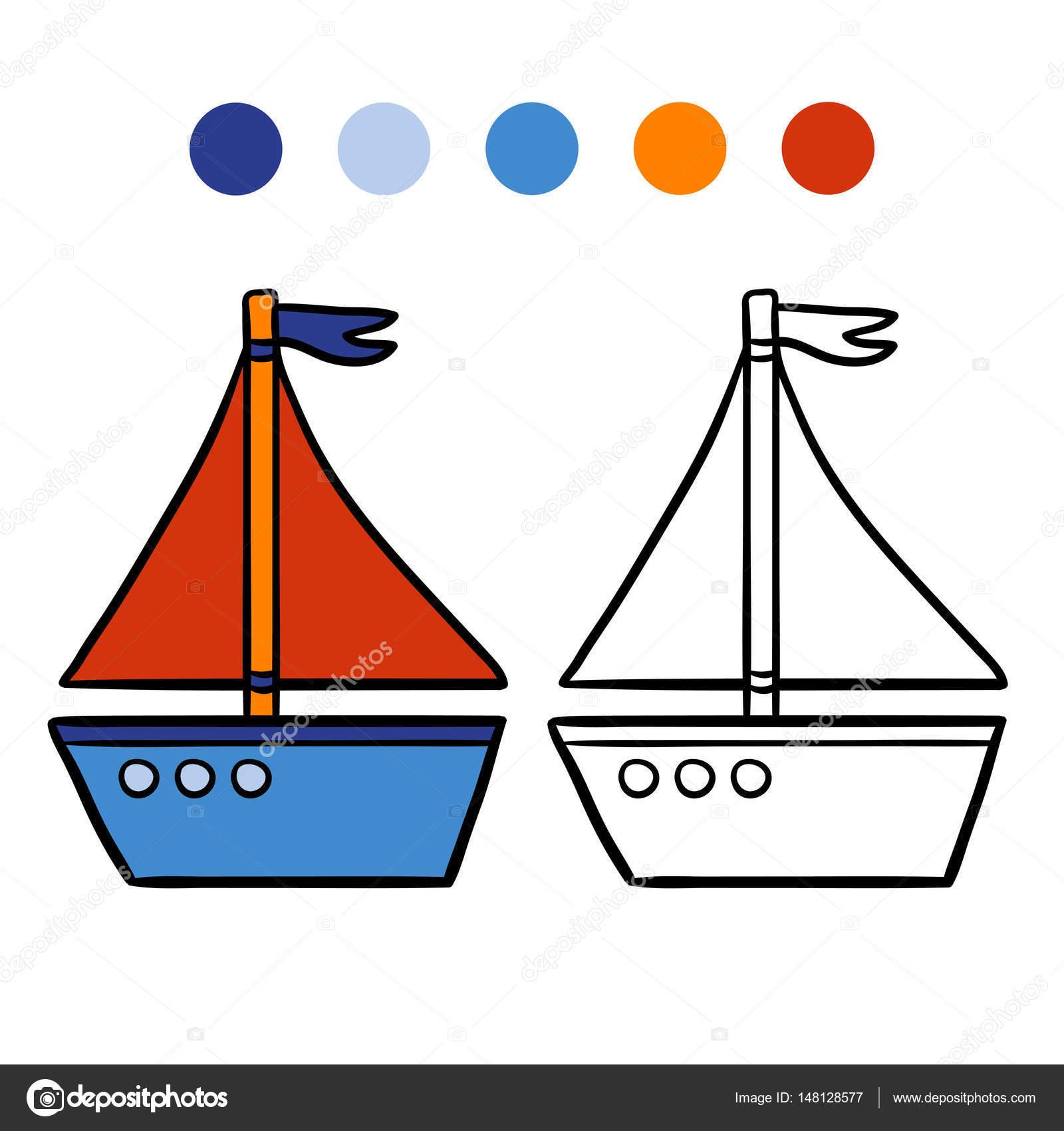 Libro Para Colorear Para Niños Alquiler De Barcos Archivo