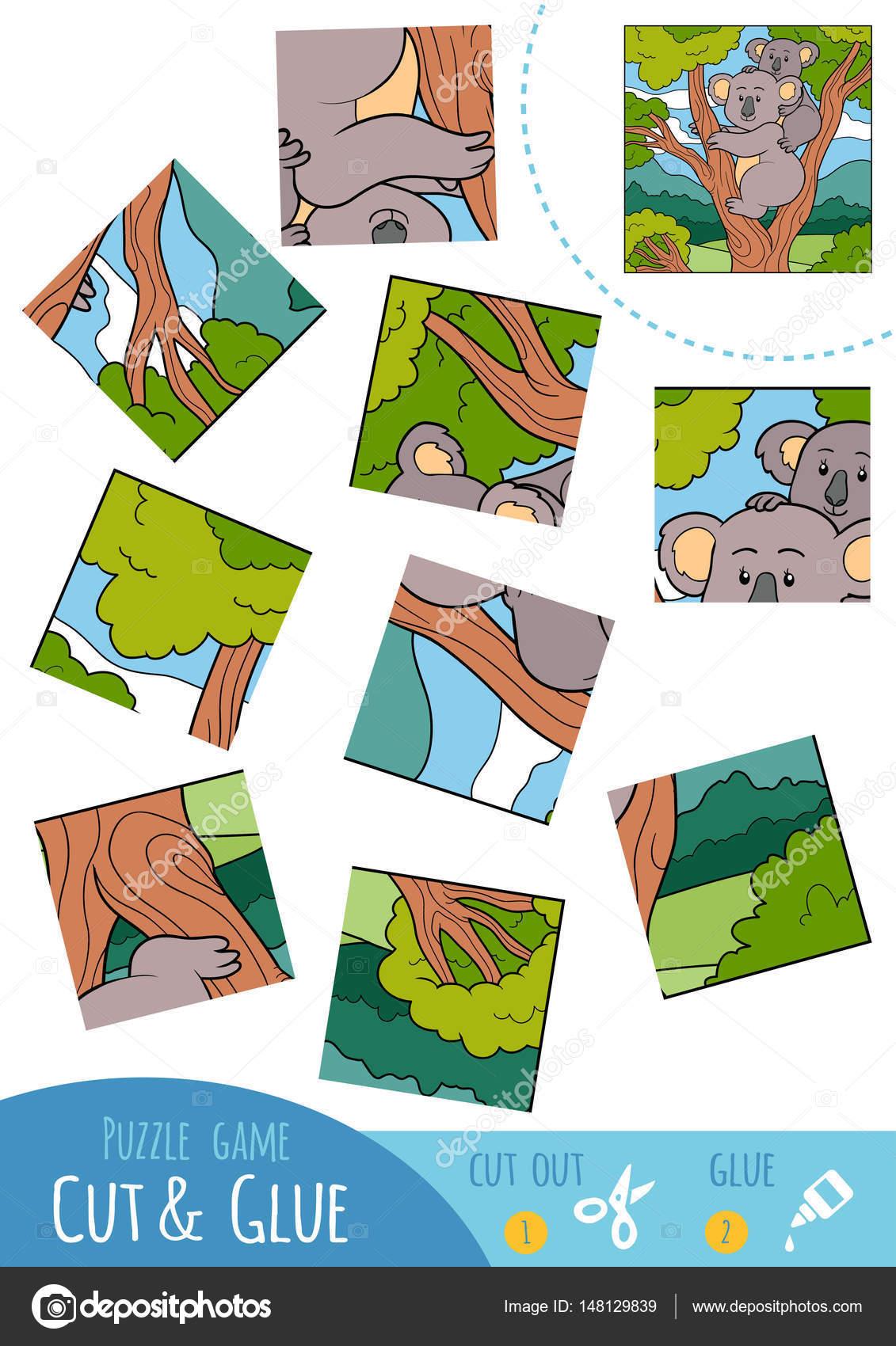 Bildung-Puzzle-Spiel für Kinder, Koala — Stockvektor © ksenya_savva ...