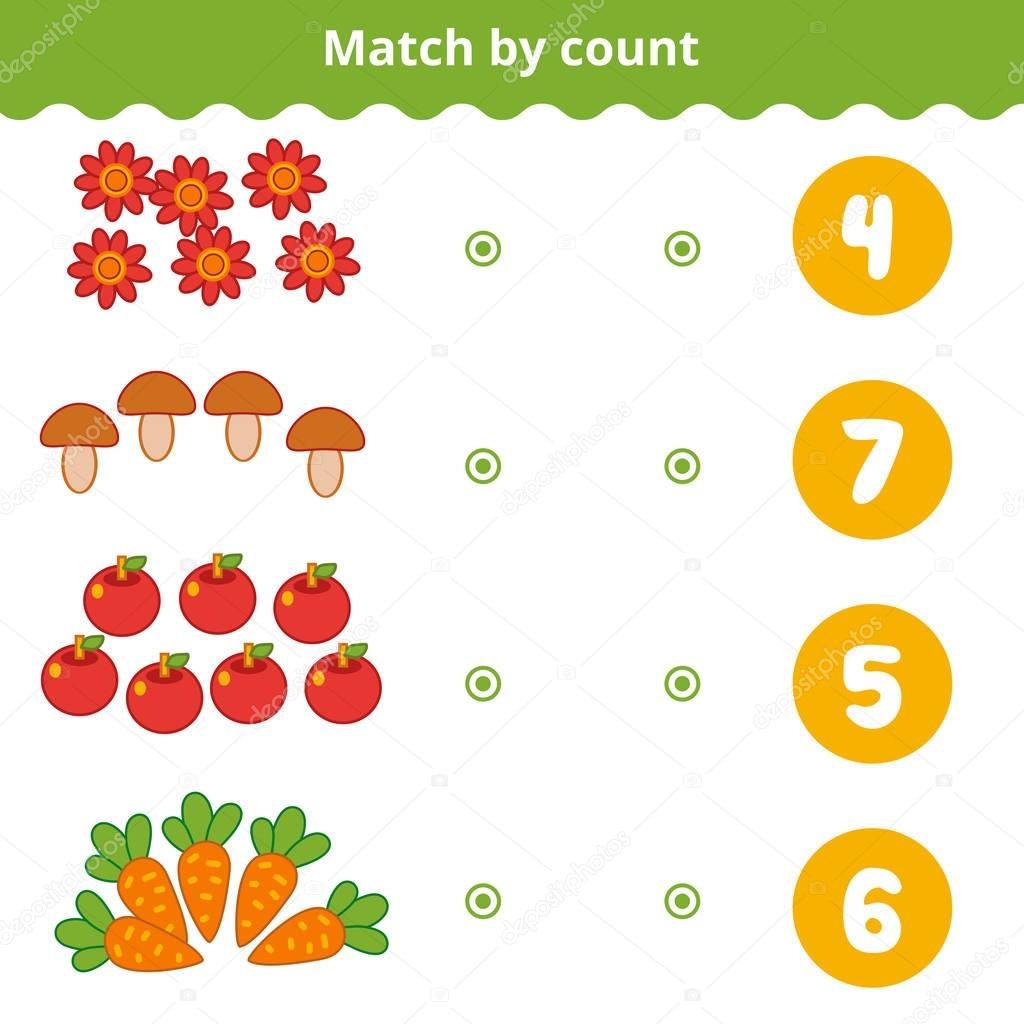 Counting Game for Preschool Children. Count the nature items in