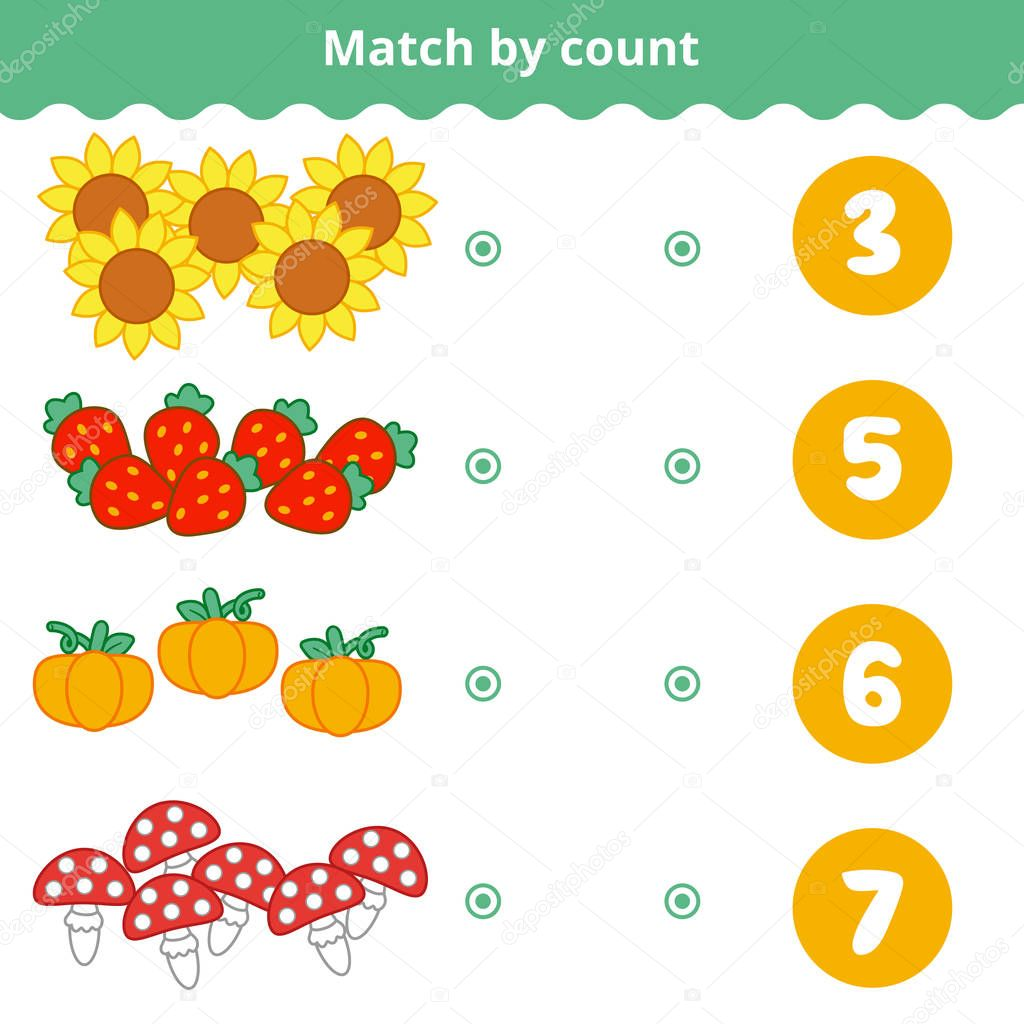 Counting Game for Preschool Children. Count the nature items and