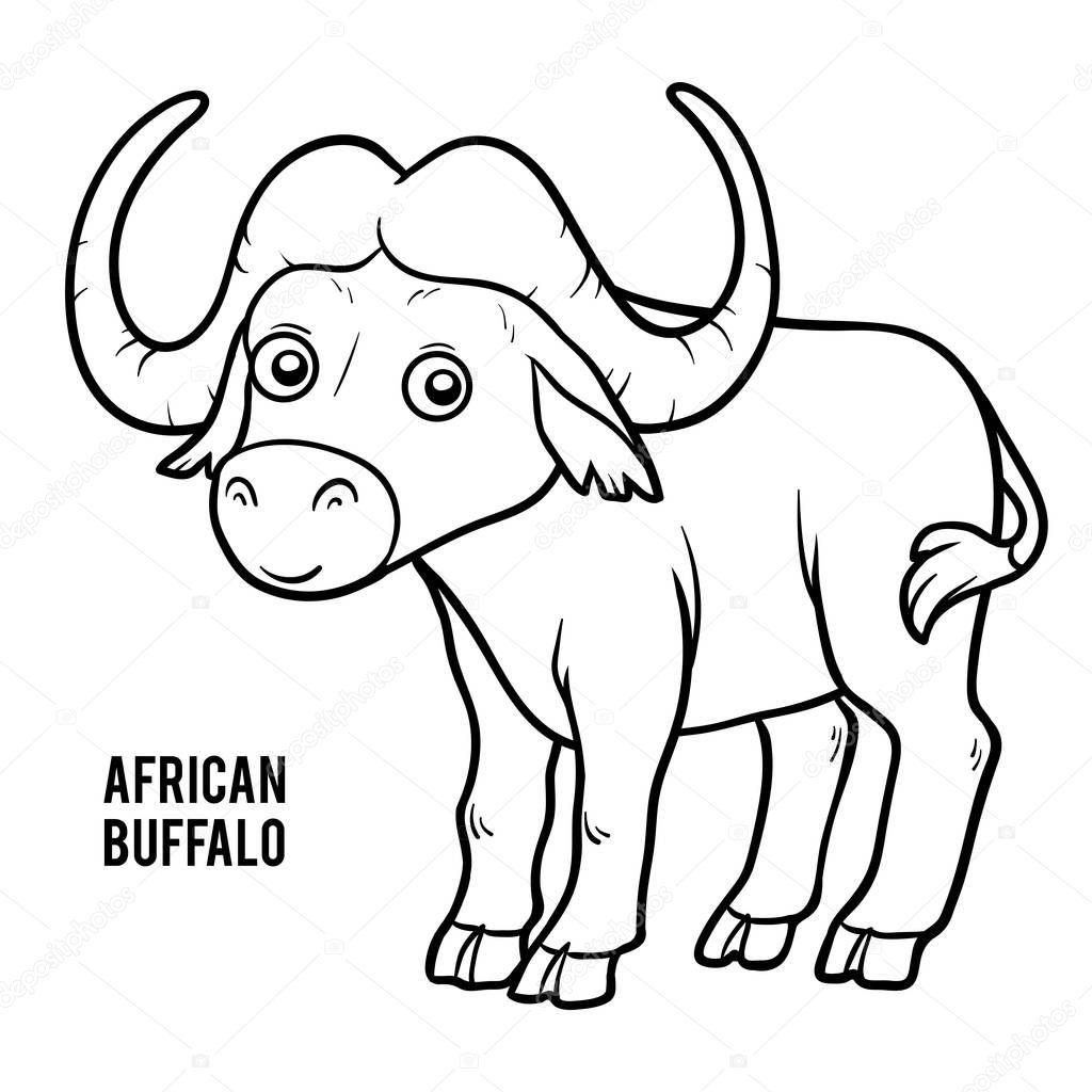 livre de coloriage buffle d afrique image vectorielle
