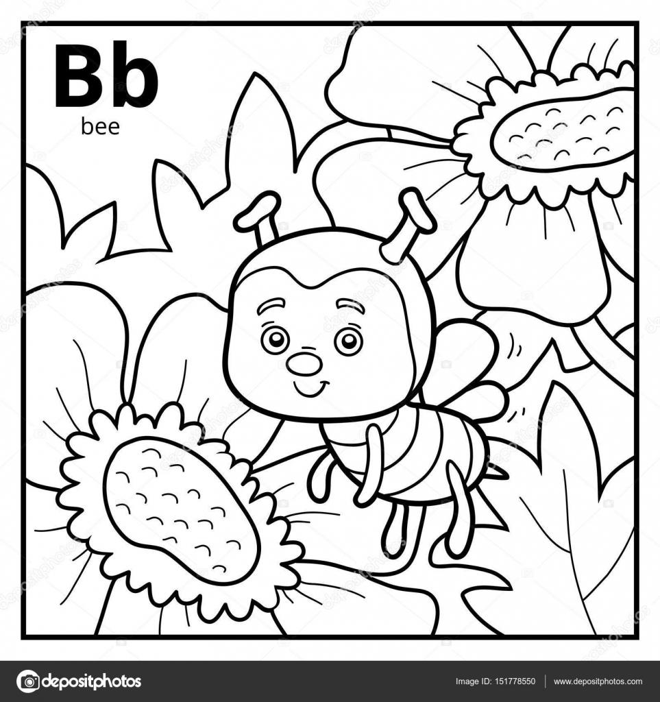 Libro para colorear, alfabeto descolorido. Letra B, abeja — Vector ...