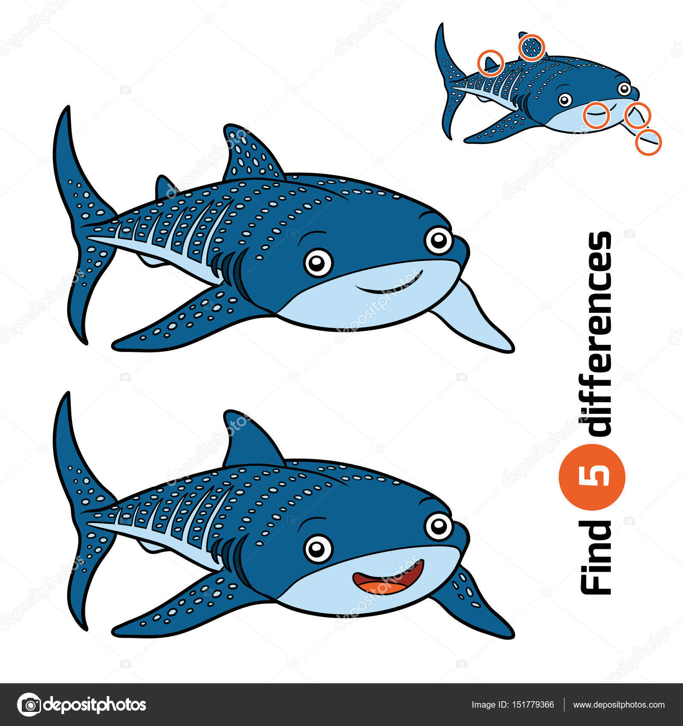 Найти различия, Китовая акула — Векторное изображение ...