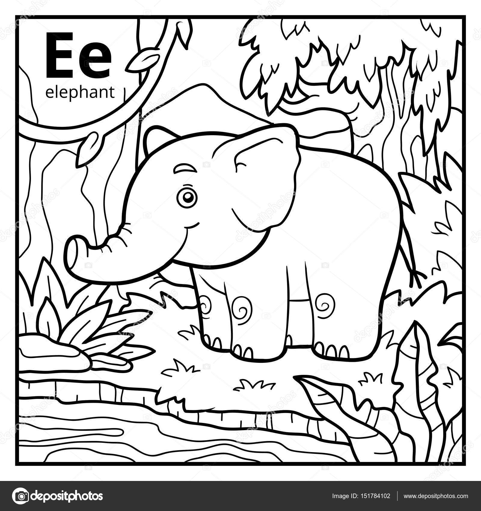 Coloring book, colorless alphabet. Letter E, elephant — Stock Vector ...