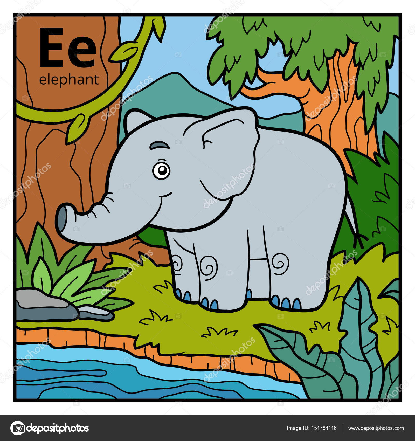 Color alphabet for children, letter E (elephant) — Stock Vector ...