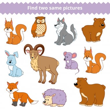 Find two identical pictures, education game for children, set of forest animals
