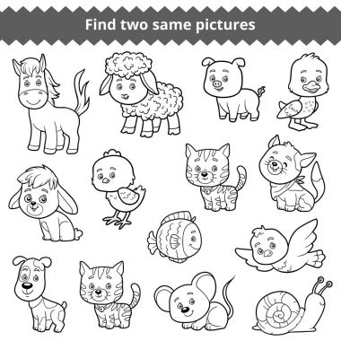 Find two identical pictures, education game for children, set of farm animals