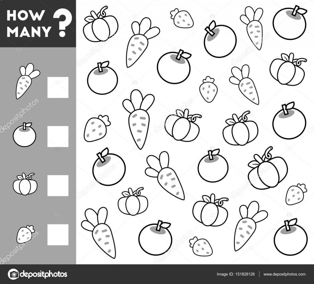 Oyun çocuklar Için Sayma Kaç Meyve Sebze Ve Yazma Sonuç Sayısı