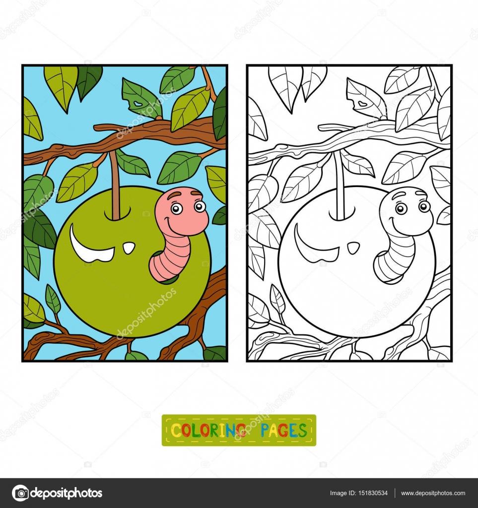 Boyama Kitabı Solucan Apple Stok Vektör Ksenyasavva 151830534