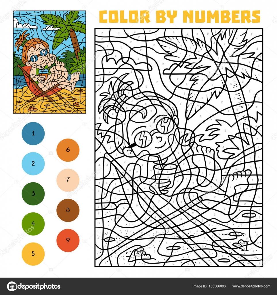 Farbe nach Anzahl für Kinder, Mädchen auf einem Liegestuhl ...