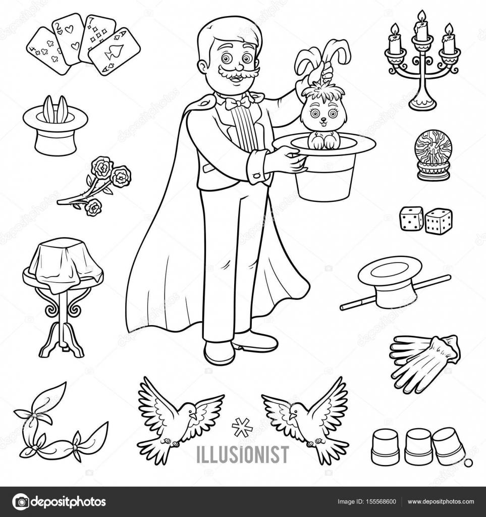 Vector con mago y objetos para trucos de magia — Vector de stock ...