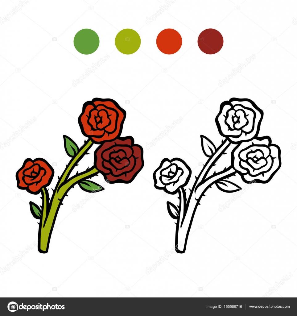 Boyama Kitabı çiçek Gül Stok Vektör Ksenyasavva 155568716