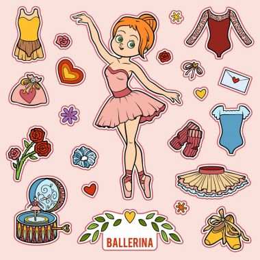 Vector set with ballerina and dancing objects