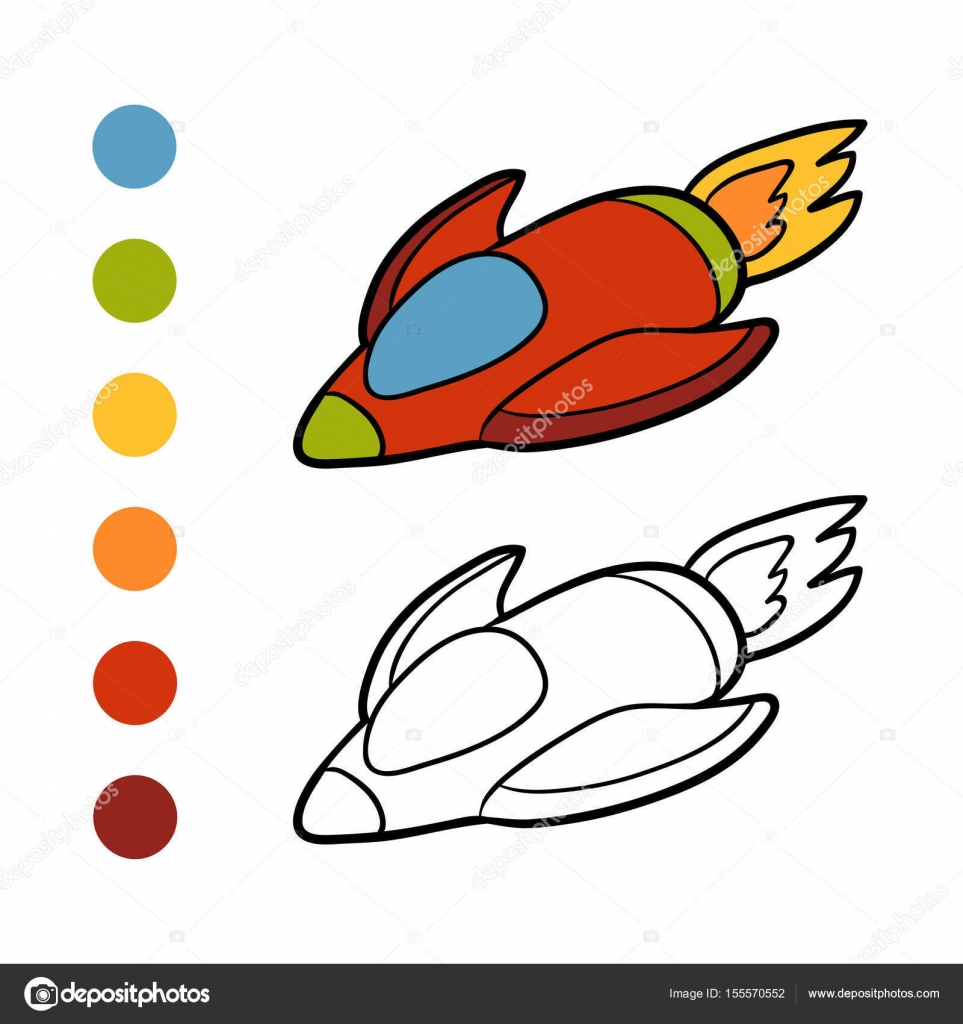 Pictures Spaceship To Color Coloring Book Spaceship Stock