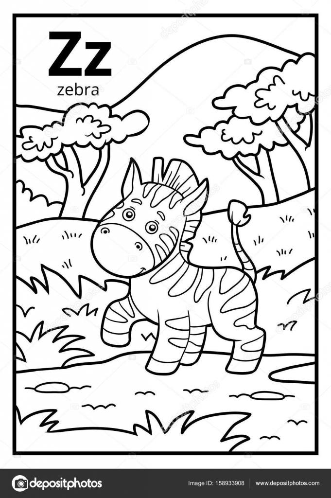 Kleurboek, kleurloze alfabet. Letter Z, zebra — Stockvector ...
