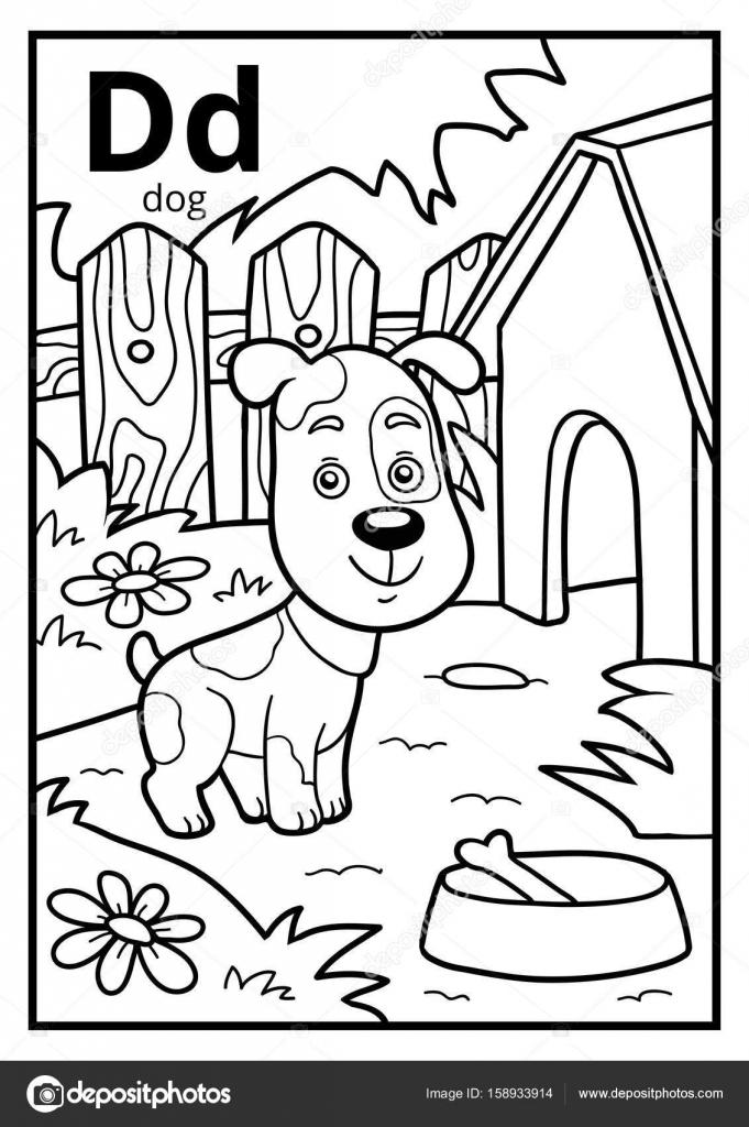 Libro para colorear, alfabeto descolorido. Letra D, perro — Archivo ...