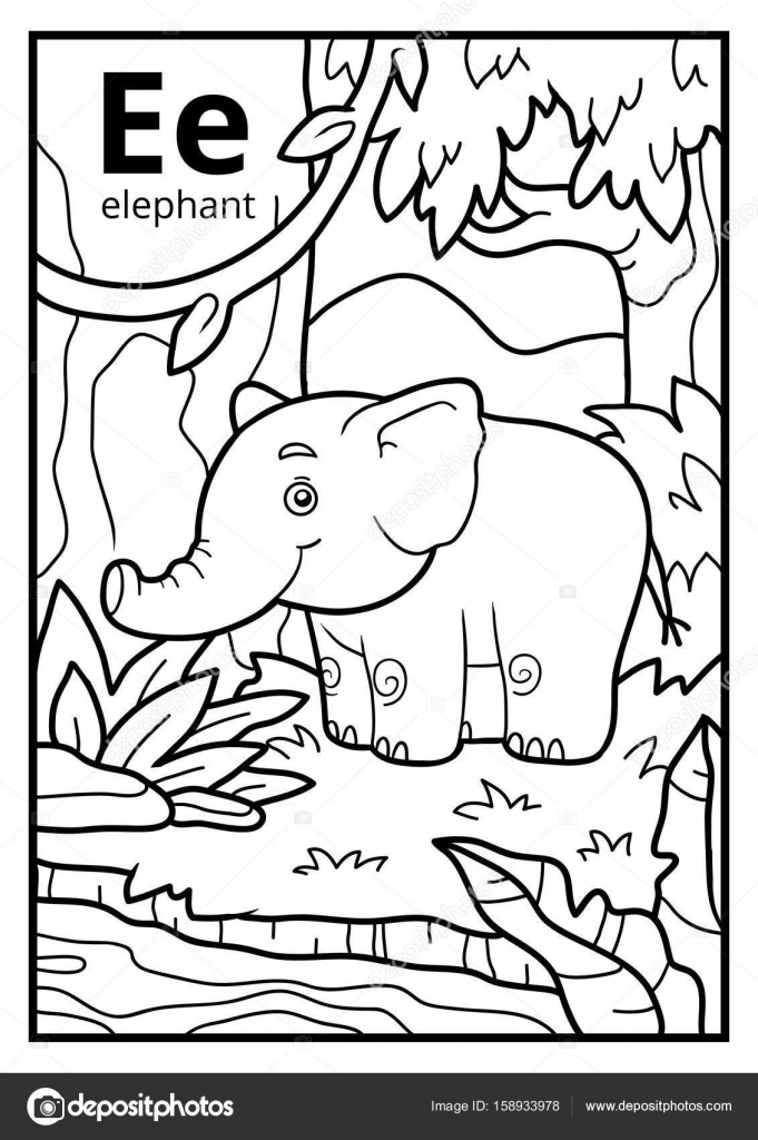 Libro para colorear, alfabeto descolorido. Letra E, elefante ...