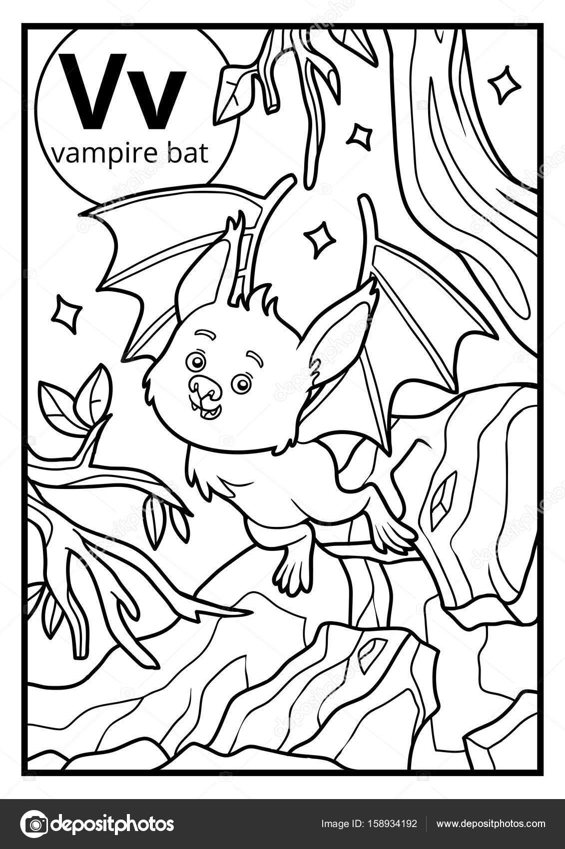 Libro para colorear, alfabeto descolorido. Letra V, vampire bat ...