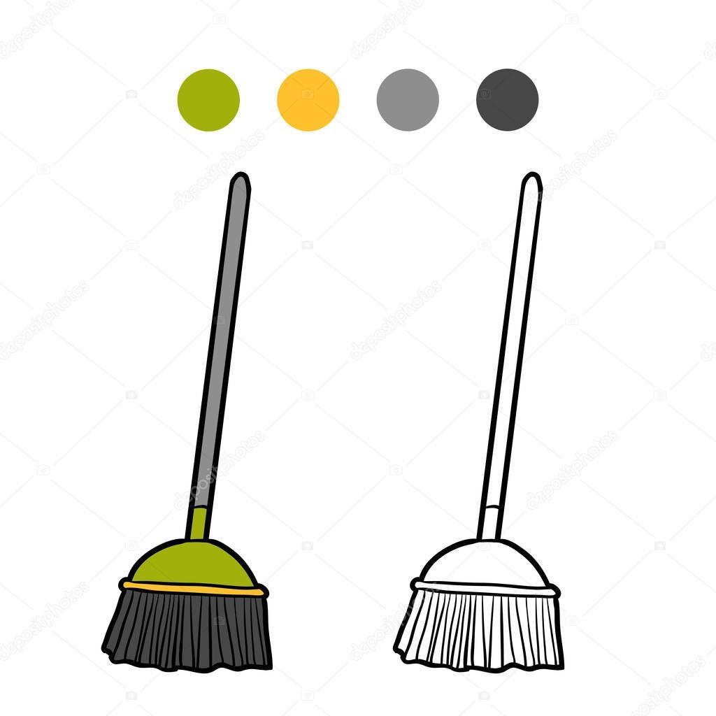 Dibujos Para Colorear Escoba Trapeador Libro De Colorear
