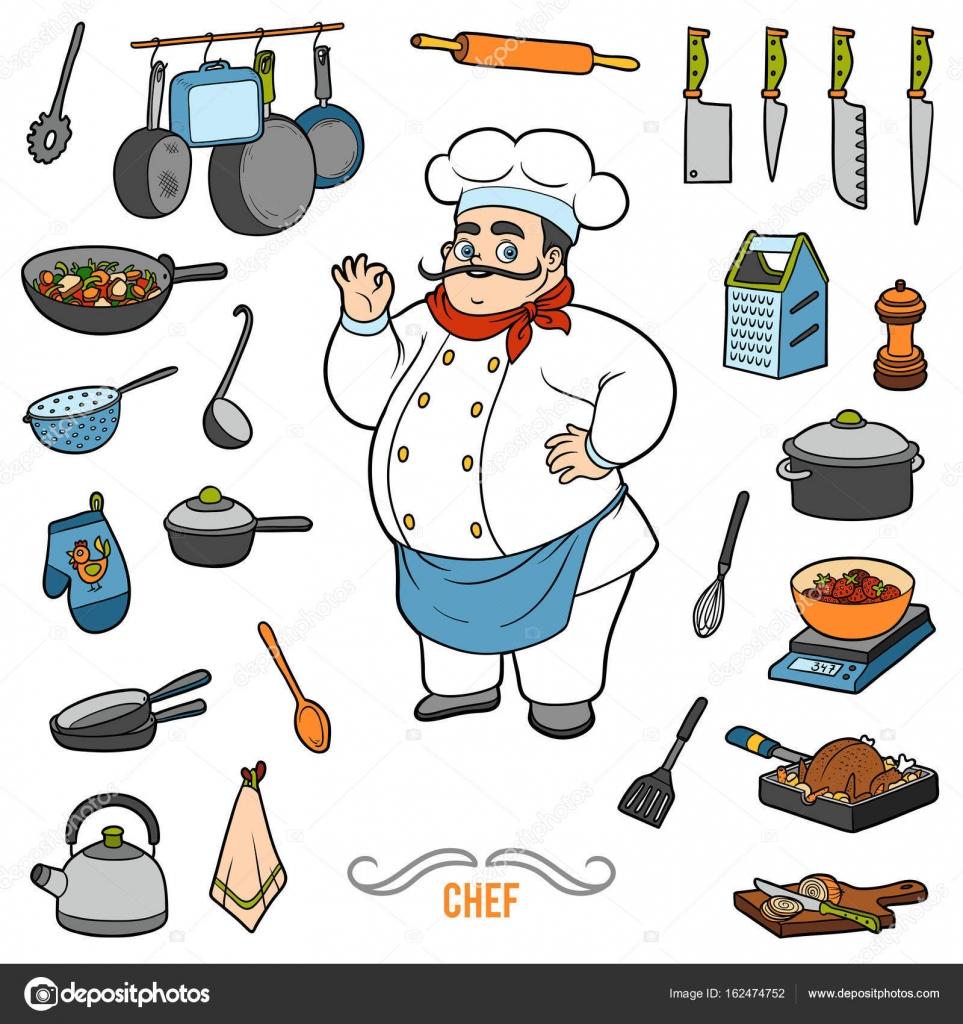 Vettore ha impostato con chef e oggetti per la cucina. Insieme dell ...