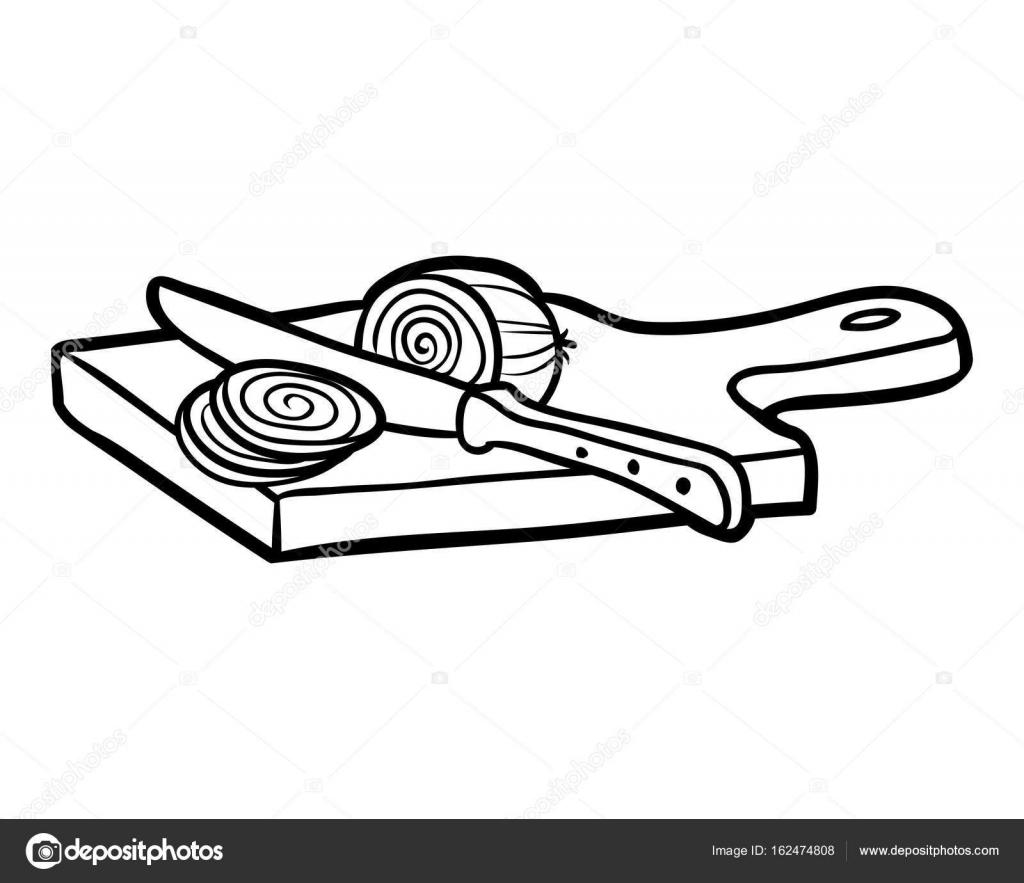 Coloring book, Cutting board and onion — Stock Vector © ksenya_savva ...