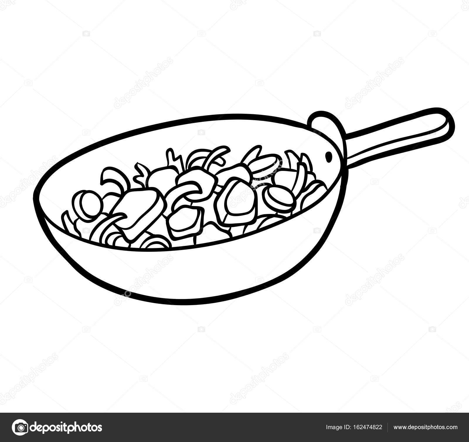 раскраска овощи в сковороде векторное изображение
