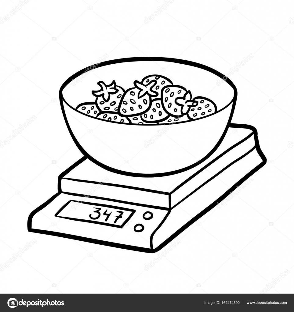 Boyama Kitabı Mutfak ölçekler Ve çilek Stok Vektör Ksenyasavva
