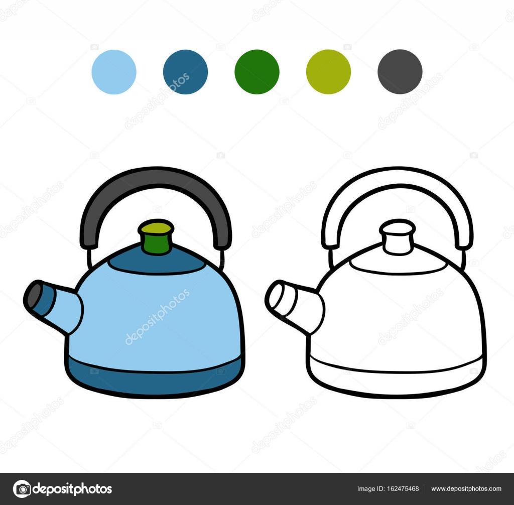 Libro de colorear, hervidor de agua — Vector de stock © ksenya_savva ...
