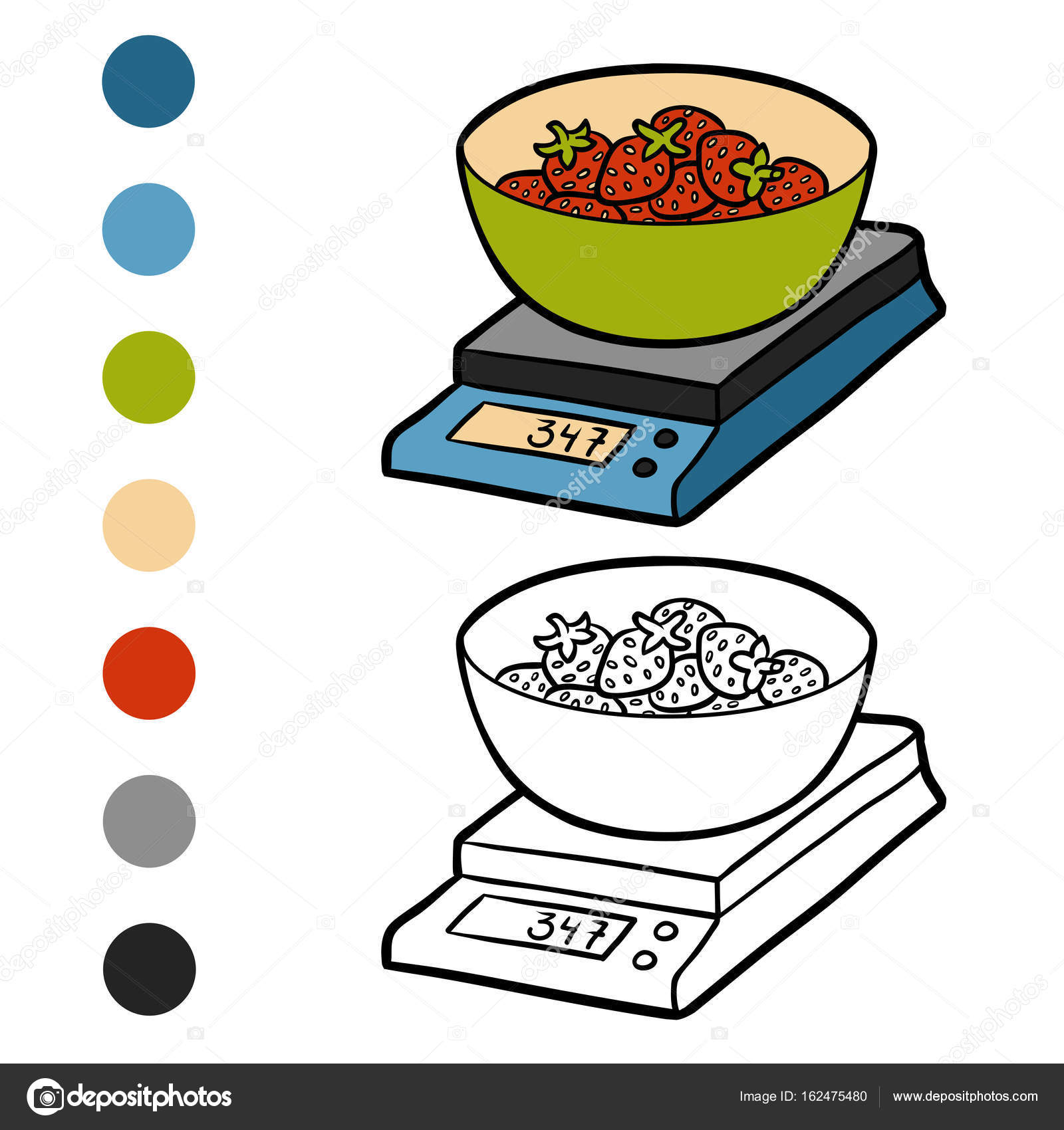 Coloring book kitchen - Coloring Book For Children Kitchen Scales And Strawberries Vector By Ksenya_savva