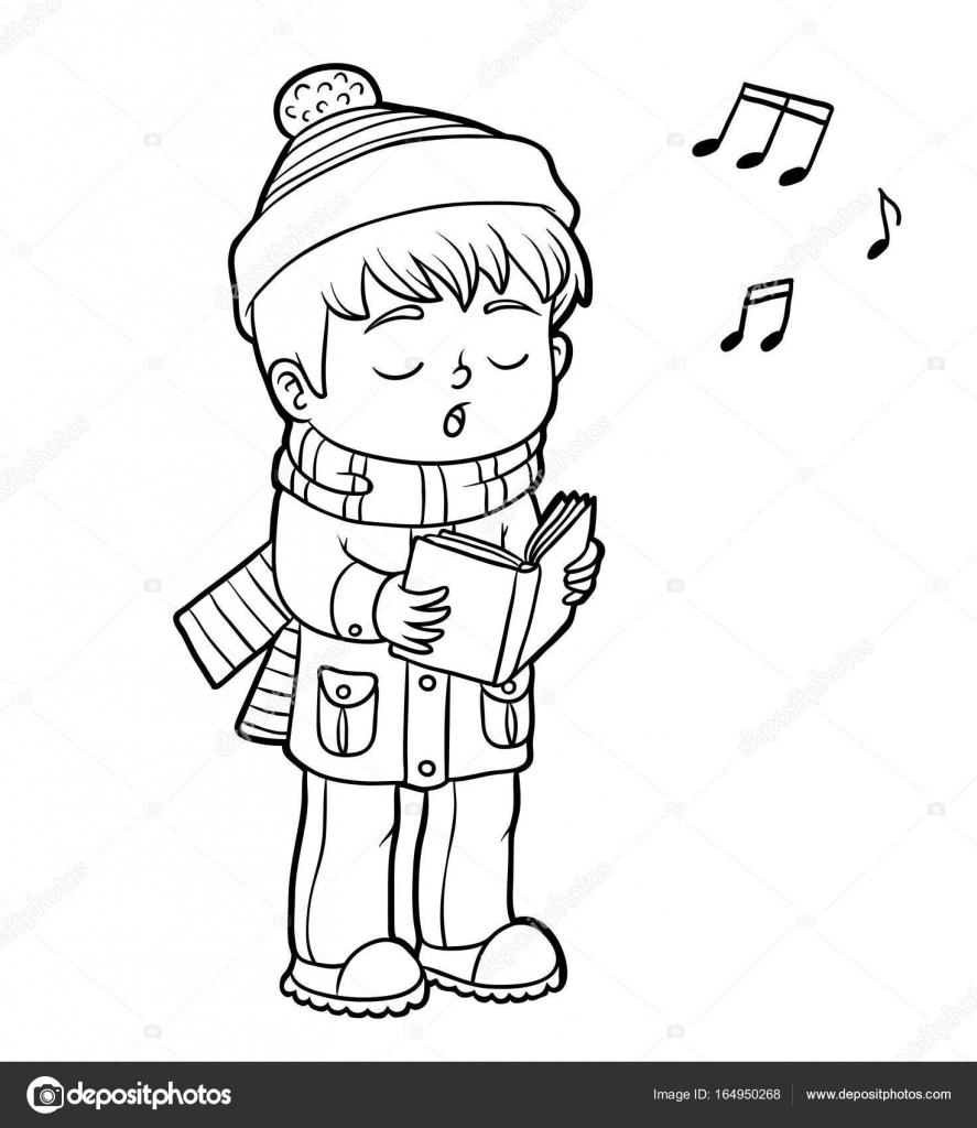 Libro para colorear, niño cantando una canción de Navidad — Archivo ...