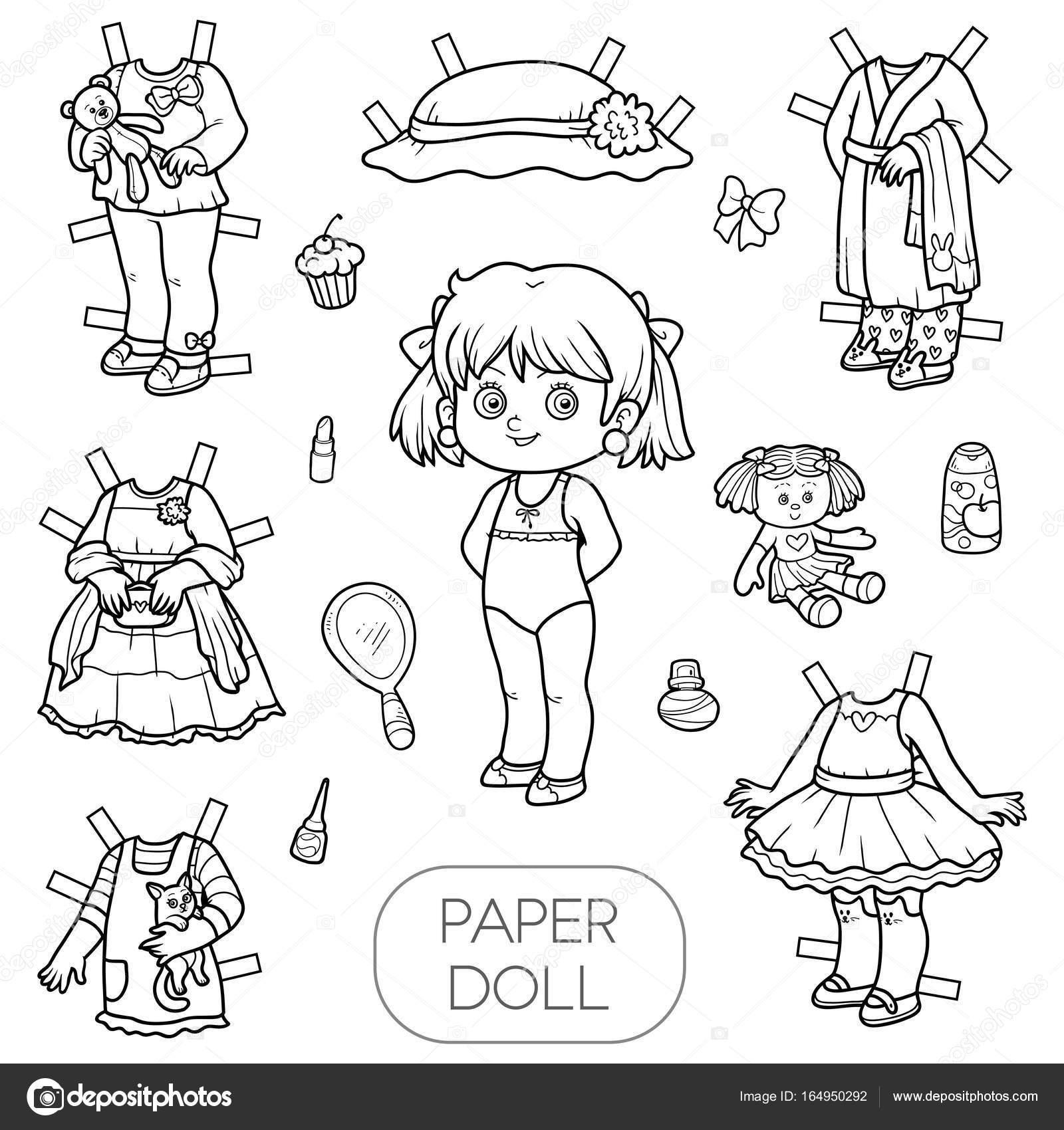 Раскраски бумажные куклы с одеждой для вырезания