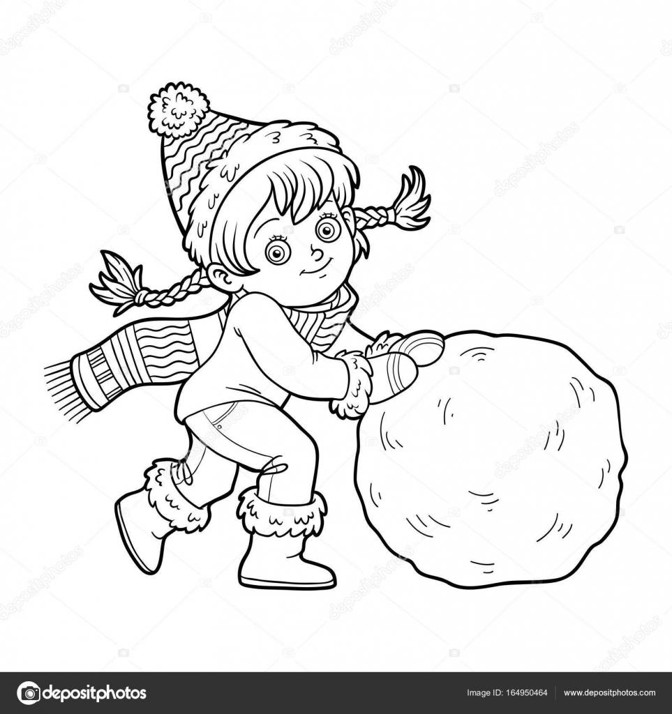 Boyama Kitabı Kız Ve Kar Topu Stok Vektör Ksenyasavva 164950464